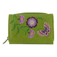 Purple flower & butterfly vegan/faux leather small wallet with embroidery -  LAVISHY Boutique