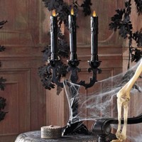 Midnight Black Halloween Candle Holders