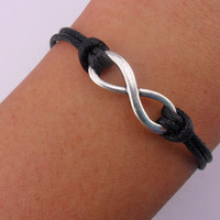 Fashion infinity bracelet hemp ropes bracelet women bracelet girls bracelet made of black ropes and silver infinity wrist bracelet SH-2688