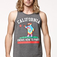 Riot Society Cali Knows Tie Dye Fill Tank Top - Mens Tee - Black