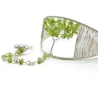 Tree of Life Slave Bracelet Ring Peridot Gemstone Silver Wire Cuff