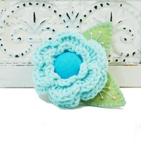 Single Crochet Flower brooch aqua blue with felt button center 275