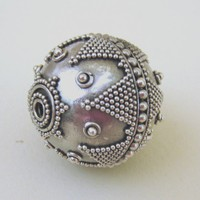 MS Huge 35mm Bali Sterling Focal Bead Fair Trade