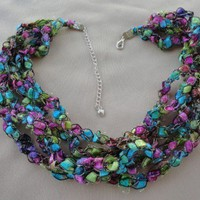 Jasmine Ribbon Necklace 18 inch Long