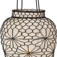 Medium Ivory Hanging Wire and Linen Candle Lanterns