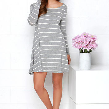 Swing Along Ivory and Grey Striped Long Sleeve Dress