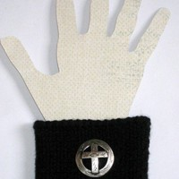 Black Wrist Band with Silver Cross Emblem and Christian Fish Ichthus