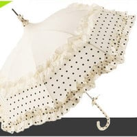 Cream and Black Dot Flounce Umbrella by Lisbeth Dahl