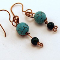 Earrings. Scrolled Brass Wire. Celtic Design. Beads