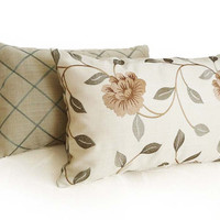 Floral Decorative Throw Pillow, Winter White Beige and Sage Green, Embroidered Leaves Flowers, Oblong Lumbar Cushion Covers,  12x18