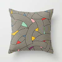 Modern Scandinavian Multi Colour Color Curve Graphic Throw Pillow by Season Of Victory