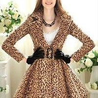Leopard Lapel Coat/Dress