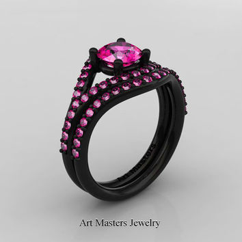 Nature Inspired 14K Black Gold 1.0 Ct Pink Sapphire Classic Vine Engagement Ring Wedding Band Set R517S-14KBGPS