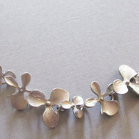 Sale 10% - Matte Silver Orchid Necklace, Silver Necklace, Gift for Her