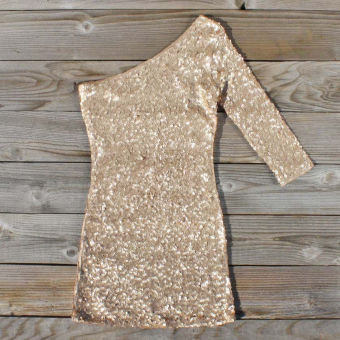 Golden Moon Party Dress, Sweet Women's Bohemian Clothing