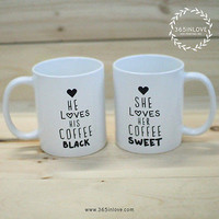 Personalized His and Hers Black and Sweet Coffee Mugs (MC037)