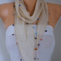 Spring Celebrations Beige Cotton Scarf Easter Wood Bead Necklace Cowl Gift Ideas For Her Women Fashion Accessories Mother's Gift