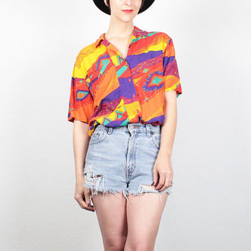 Vintage 80s Shirt Rainbow Southwestern Print Blouse Button Up Shirt 1980s New Wave Collared Shirt South Western Print Top M Medium L Large