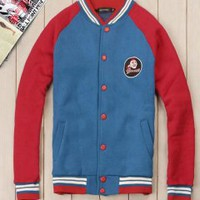 Red Blue Colorblocking Mens Varsity Jacket