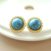 Blue Turquoise marble Stud earrings Gold by RachellesJewelryBox