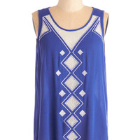 ModCloth Boho Mid-length Sleeveless This Aura That Top in Cobalt