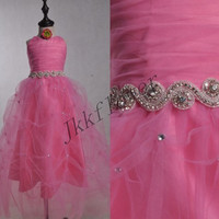 Cute Hot Pink Flower Girl Dresses,Tulle Girl's Pageant Dresses,Children's Party Dresses,Dancing Dresses,Birthdya Dresses