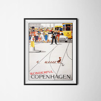 Copenhagen Travel Poster, Printable Art, Digital Download, Poster, 300dpi / Printed Poster Price is 15 USD + 4.99 USD for Shipping!