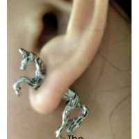 3D Unicorn Ear Studs (Antique Silver) - the85stylePeople