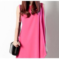 Multi-Fold Pink Sleeveless Dress - the85stylePeople