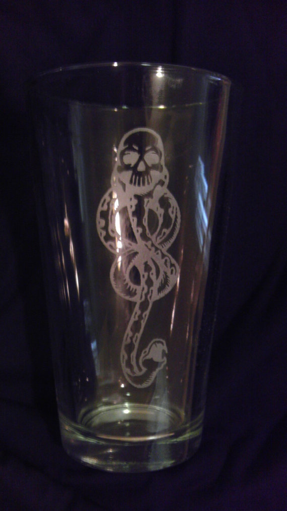 Dark Mark Harry Potter pint glass by DrinkingWithFriends on Etsy