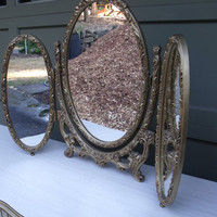 SALE - Vintage Gold 3-Fold Mirror With Flowers