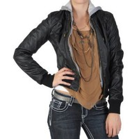 Amazon.com: Hailey Jeans Co Juniors Zippered Faux Leather Hooded Jacket: Clothing