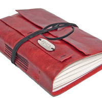 Red Leather Journal with Bookmark