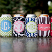 set of 4 monogrammed drink koozies - choose from six template options, customize name/initials only