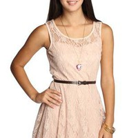 all over peach illusion lace belted skater dress - debshops.com