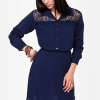 On the Western Front Navy Blue Shirt Dress