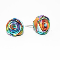 Marble Polymer Clay Rose Earrings