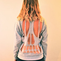 Skull Cut-out Crew Neck Sweatshirt - Grey