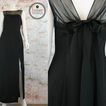 Vintage 80's Black Dress Long Evening Gown Formal Sheer Cocktail Party Dress Front Slit Chiffon Bow Small Medium S M