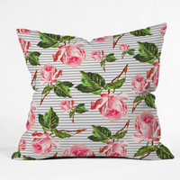 Allyson Johnson Roses and stripes Throw Pillow