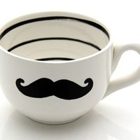 Moustache Mustache Soup or coffee Mug Oversized Black and white modern with stripes
