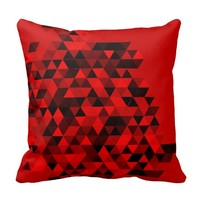 Red Black Triangles Pattern Pillow