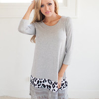 Hello Fascination Dress with Leopard Print in Gray