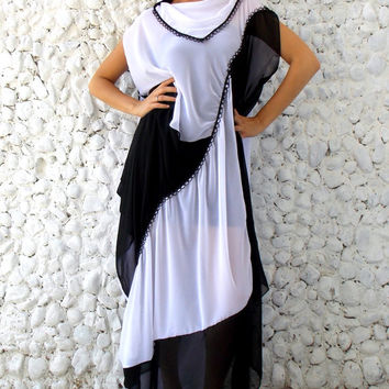 Asymmetrical Black White Chiffon Dress / Maxi Plus Size Elegant Dress / Oversize Maxi Chiffon Dress TDK74