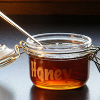 honey jar honey pot bowl home decor breakfast table engraved letters