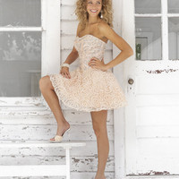 Crystal Pink Embroidered Chiffon Strapless Lace Up Homecoming Dress - Unique Vintage - Homecoming Dresses, Pinup & Prom Dresses.
