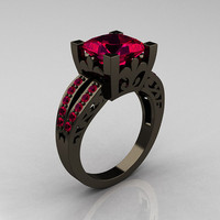 French Vintage 14K Black Gold 3.8 Carat Princess Ruby Solitaire Ring R222-BGR