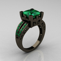 French Vintage 14K Black Gold 3.8 Carat Princess Emerald Solitaire Ring R222-BGEM