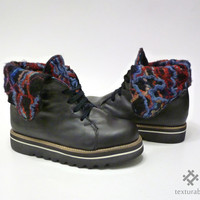 Ankle boots, Creepers, women's oxford shoes, black Boots Felt textured with leather and platform /// Ready to ship ///