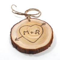 SMALLER sized Rustic Wedding Tree Ring Initials.  Custom made for the Bride and Groom.  Great Christmas gift.